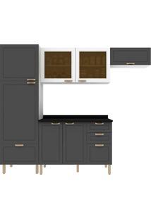 Cozinha Modulada 5 Peças Com Tampo E Nevada 5688Vdtp-Multimóveis - Branco Premium / Grafite Premium