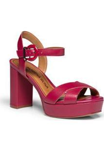 Sandalia Salto Alto Fivela Personalizada Rosa