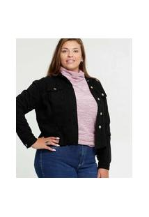 Jaqueta Plus Size Feminina Sarja Destroyed Botões