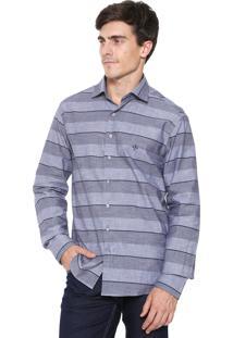 Camisa Dudalina Slim Listras Cinza/Azul-Marinho