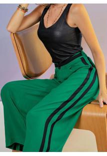 Calça Pantalona Em Viscose Verde