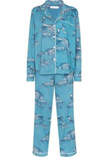 Desmond & Dempsey Pijama Bocas De Algodão - Azul
