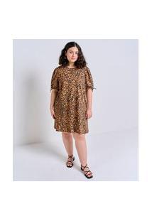 Vestido Curto Estampa Animal Print Com Mangas Bufantes Curve & Plus Size | Ashua Curve E Plus Size | Marrom | G