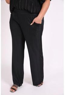 Calça Kaue Plus Size Pantalona Plissada Feminina - Feminino-Preto