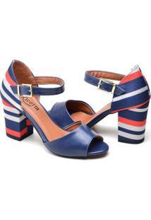 Sandalia Top Franca Shoes Feminina - Feminino-Azul Claro+Bege