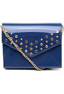 Bolsa Petite Jolie Mini Bag Pedrarias Feminina - Feminino-Azul Escuro
