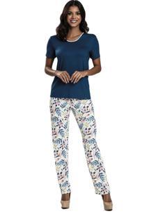 Pijama Recco De Viscose E Microfibra Azul