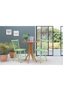 Mesa Redonda Com 2 Cadeiras Juliette - Jatobá E Verde Sálvia