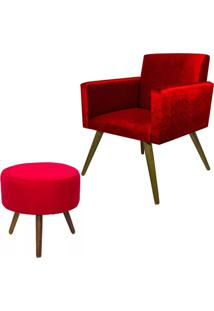 Kit Poltrona Decorativa Nina Mais Puff Redondo Suede Vermelho - Ds Móveis - Kanui