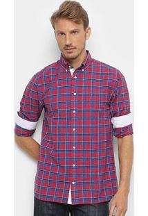 Camisa Manga Longa Tommy Hilfiger Wcc Authentic Oxford Masculina - Masculino-Azul+Vermelho