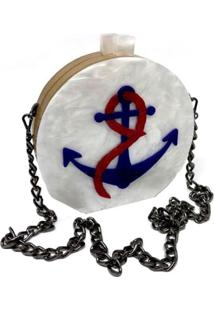 Bolsa La Madame Co Clutch Marítima Branca