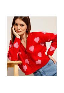 Cardigan Cropped Amplo De Tricô Estampado De Corações Decote V Mindset Vermelho