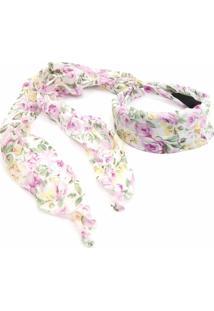 Tiara Bijoulux Floral Branca - Kanui