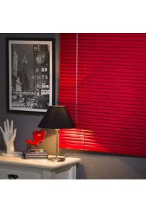 Persiana Horizontal Em Alumínio 25Mm Color 1,60Larg X 1,60Alt Vermelha