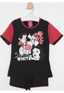 Pijama Branca De Neve® - Preto & Vermelholupo
