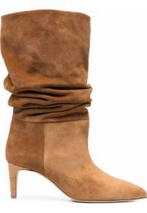 Paris Texas Ankle Boot Franzida De Camurça - Marrom
