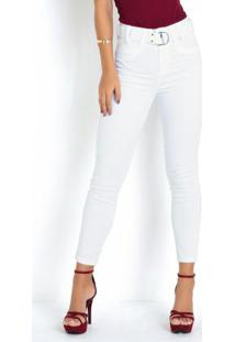 Calça Hot Pants Branca Sawary Com Cinto