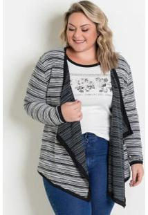 Casaco Listrado Malha Tricot Plus Size