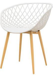 Cadeira Clarice Assento Em Polipropileno Branco Com Base Palito Cor Madeira - 45017 - Sun House