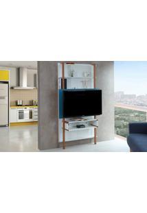 Painel De Tv Para Sala Branco Com Azul - Rack De Parede Para Tv Até 42 Polegadas Karl Woodinn - 99,8X25,5X180 Cm