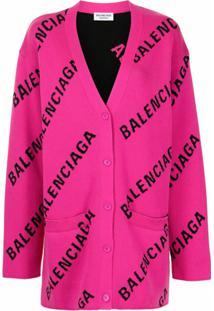 Balenciaga Cardigan Oversized Com Logo - Rosa