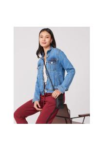 Amaro Feminino Jaqueta Jeans Bolso Embutido Frente, Azul Médio
