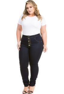 dc11511cb ... Calça Confidencial Extra Plus Size Jeans Hot Pants Com Botões Feminina  - Feminino-Marinho
