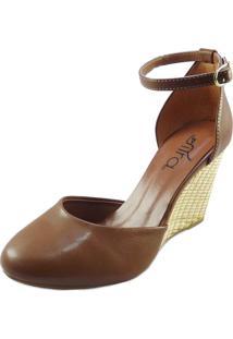 Sapato Feminino Boneca Anabela Rafia Marrom