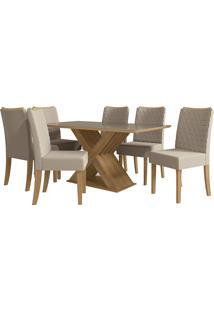 Mesa Para Sala De Jantar Com 6 Cadeiras Ba29-Kappesberg - Freijo / Bege