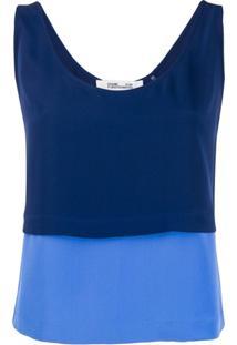 Diane Von Furstenberg Blusa Bicolor - Azul