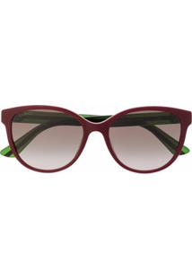 Gucci Eyewear Óculos De Sol Redondo Gg0703Sk - Vermelho