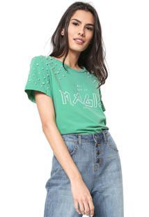 Camiseta Colcci Pérolas Verde