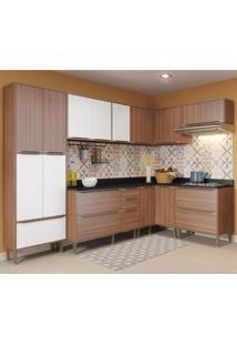 Cozinha Completa 8 Módulos 16 Portas Calábria Multimóveis Nogueira/Branco Texturizado