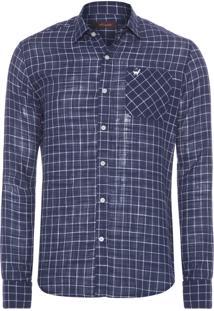 Camisa Masculina Frankie Xadrez - Azul