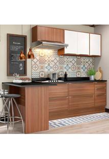 Cozinha Compacta Sem Tampo 8 Peças 5455R Calábria - Multimóveis - Nogueira / Branco