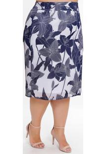 Saia Midi Plus Size Floral Com Elástico No Cós