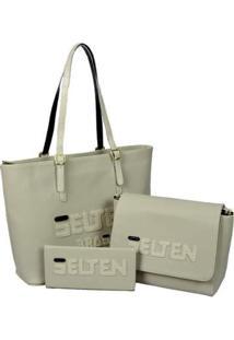 Kit Selten Bolsa Shopper Ombro Zíper + Bolsa Lateral + Carteira Feminina - Feminino-Creme
