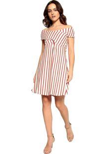 Vestido Malha Listrado Energia Fashion Bege/Vermelho