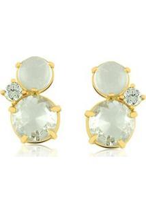 Brinco Toque De Joia Duas Pedras Cristal E Zircônia - Feminino-Dourado