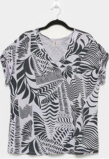 Blusa Habana Plus Size Básica Estampada Feminina - Feminino-Chumbo