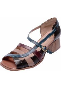 Sandália Salto Baixo Em Couro Miuzzi Multicolorida Marrom E Azul Marinho - Kanui