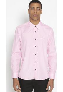 Camisa Slim Fit Texturizada Com Bordado- Rosa Claro-Opthy