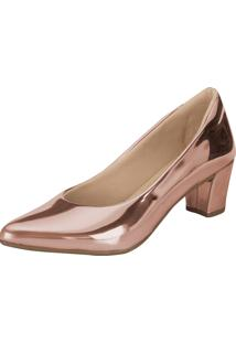 Scarpin Lu Fashion Salto Baixo Rose Metalizado