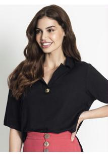 Camisa Polo Decotada Feminina Preto