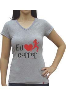 Camiseta Baby Look Casual Sport Eu Amo Correr Cinza