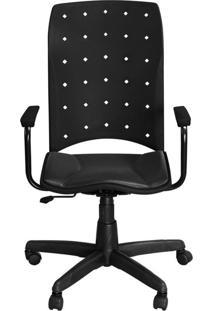 Cadeira Pethiflex Iso Presidente Giratória Couro Preto