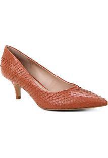 Scarpin Couro Shoestock Salto Médio Cobra - Feminino-Caramelo