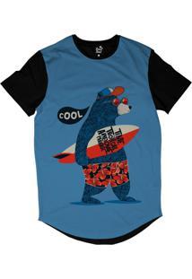 Camiseta Longline Long Beach Urso Prancha Sublimada Azul
