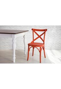 Cadeira De Madeira X Estilo Bar Torneada Com Encosto E Assento Anatômico Vermelha Madeleine - 50X54,5X86 Cm