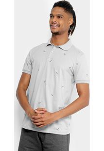 Camisa Polo Tigs Estampada Âncoras Masculina - Masculino-Cinza